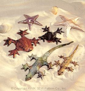 Kwik Sew gecko, frogs, starfish 2413