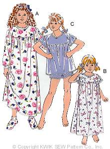 Kwik Sew Girls Nightgowns, Pajamas & Slippers 2446