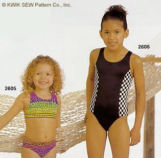 Kwik Sew Girls swimsuits 2606
