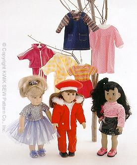 Kwik Sew Crafts Doll clothing -fits 18in dolls 2830