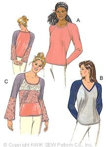 Kwik Sew Misses' Top Raglan sleeve 2874