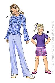 Kwik Sew Girls Tops, Skirt & Pants 3056
