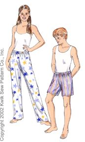 Kwik Sew learn-to-sew sleep pants and s 3074
