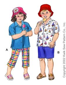 Kwik Sew Toddlers Pants, Shorts, Shirt & Hat 3079