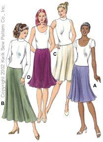 Kwik Sew Panel skirts w/ godets 3108