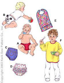 Kwik Sew Babies Diaper Covers & Bibs 3112