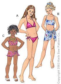Kwik Sew Girl's swimsuits & wrap 3165