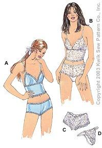 Kwik Sew Misses' Camisoles & Panties 3167
