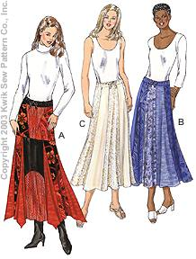 Kwik Sew patchwork skirt, pointy hem 3175