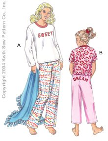 Kwik Sew Girls Sleep Pants, Shirts & Blanket 3275
