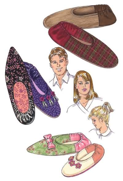 Kwik Sew Crafts Misses, Mens and Childs slippers 3323