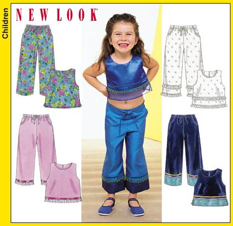New Look Childs Sleeveless Top, and Pants in Ankle or Cropped Length 6095