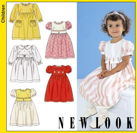 New Look Toddlers Dress with Long or Short Puffed Sleeves 6136