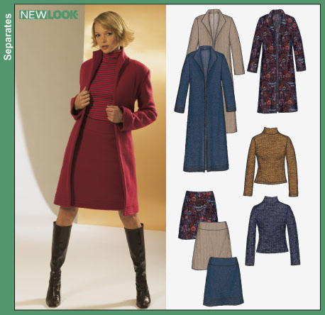 New Look Misses Jacket, Coat, Skirt and Knit Top 6317OOP