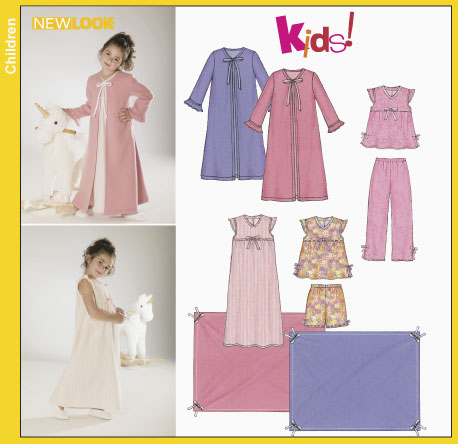 New Look Childs Nightgown, Pajamas, Robe and Blanket 6334