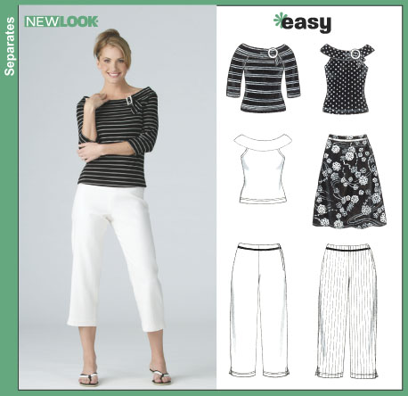 New Look Misses' Pants, Skirt and Knit Tops 6382
