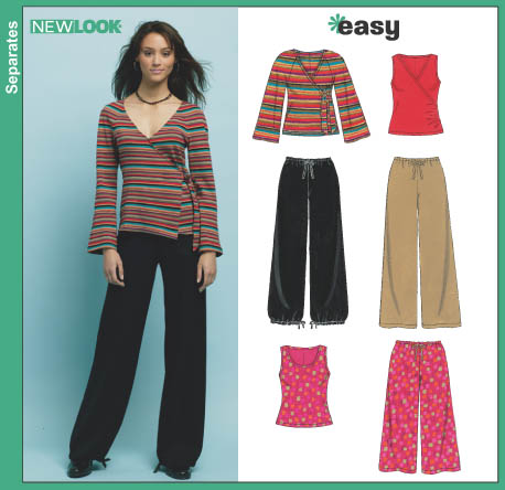 New Look Misses' Pants In Two Lengths and Knit Tops 6414