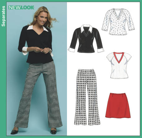 New Look Misses' Pants, Skirt and Knit Top 6415
