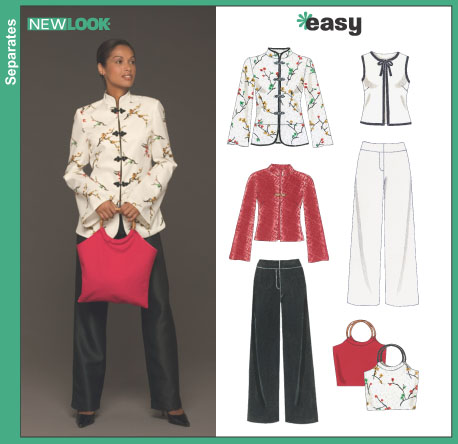 New Look Misses' Pants, Bag and Lined Jackets or Vest 6435