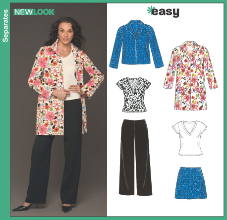 New Look Misses' Pants, Skirt, Jacket and Knit Top 6436
