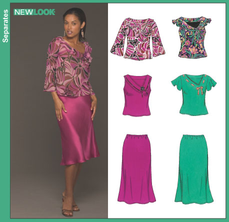 New Look Misses' Bias Tops and Skirt 6438