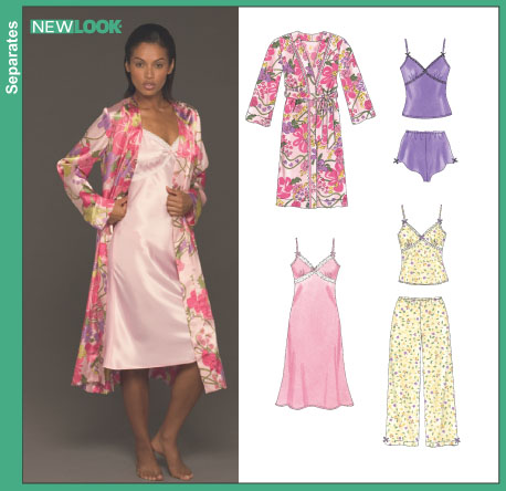 New Look Misses' Nightgown or Camisole, Pants, Shorts and Robe 6443