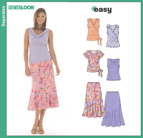 New Look Misses' Skirt and Knit Tops 6470