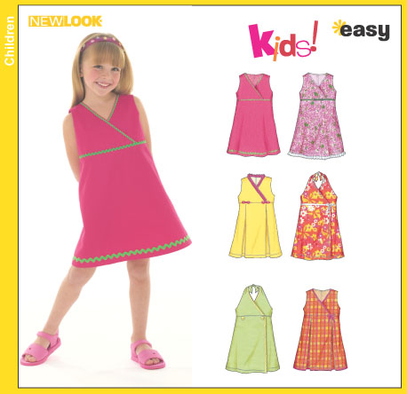 New Look Child's Dress, Halter Dress With Trim Variations 6477