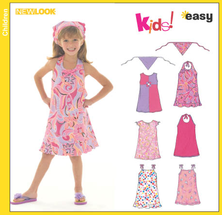New Look Child's Dress, Halter Dress, Sundress and Head Scarf 6478