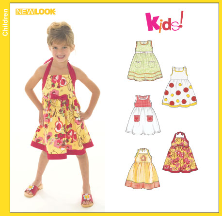 New Look Child's Dres, Halter Dress With Trim Variations 6479