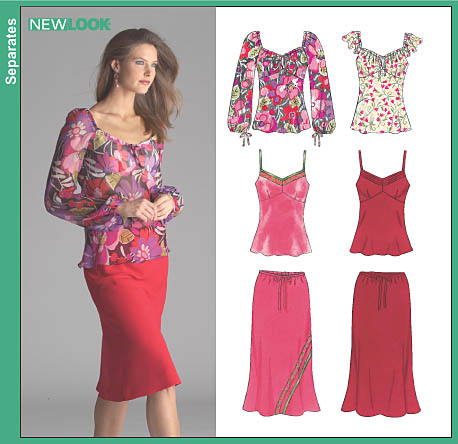 New Look Misses Tops and Bias Skirt 6520
