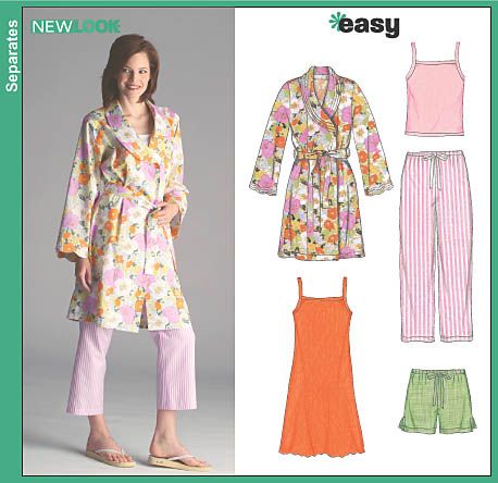 New Look Misses Pajama Pants, Shorts, Robe and Knit Nightgown or Top 6523
