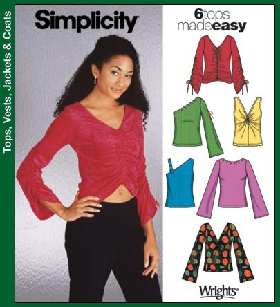 Simplicity Misses' Twist Tops 5255