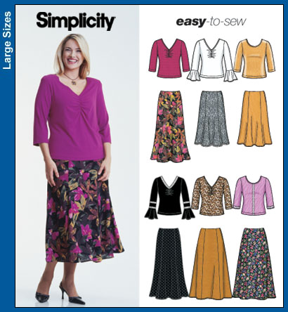 Simplicity Plus Size Skirt and Knit Tops 5469