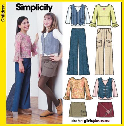 Simplicity Girls pant, skirt, vest & top 5487