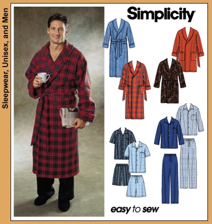 Simplicity Men's Pajamas and Robe 7045