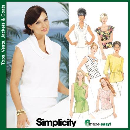Simplicity Cowl/plain neck tops 7226
