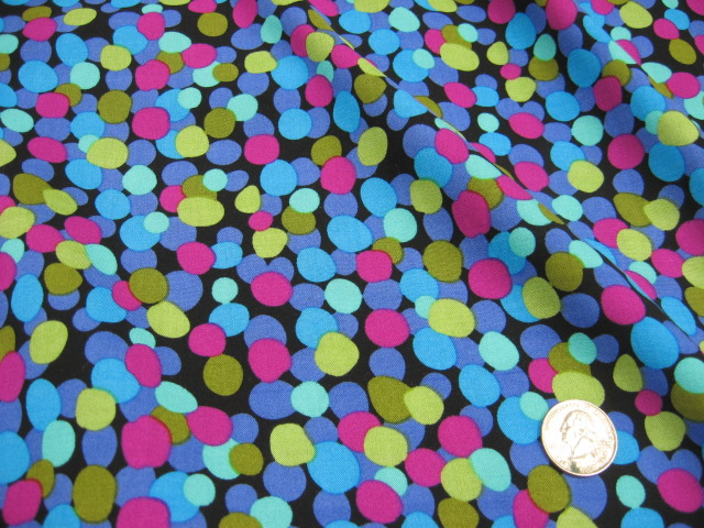 MAGGY LONDON RAYON CHALLIS - COLORED CIRCLES ON BLACK