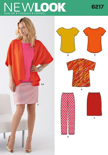 New Look 6217 Misses Jacket, Tee, Skirt and Pants