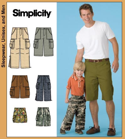 Simplicity 3891 Boys' & Men's Cargo Pocket Pants and Shorts