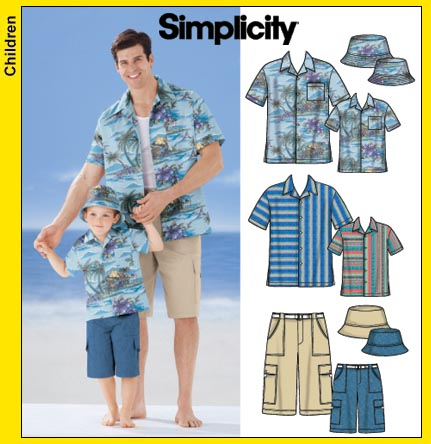 Simplicity 5581 Men's, Boys' Shirt, Shorts, Hat