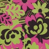 Anita G Lime and Pink Flowers on Cotton Jersey