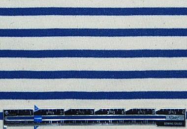 Italian blue/nat. stripe all-cotton sweater knit