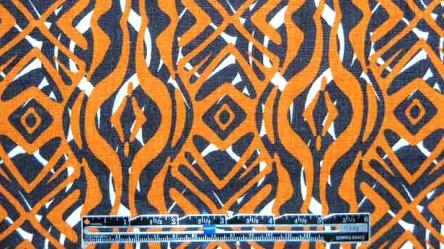 French mandarin/black 'primitive' linen woven