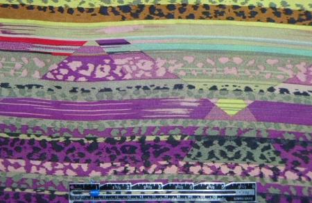 NY designer fuschia/yellow/khaki graphic silk