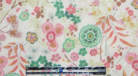 French ivory with flowers cotton voile