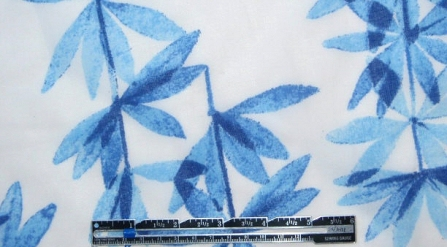 NY designer blue pressed leaves cotton lawn