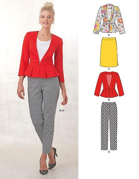 New Look 6231 Misses' Skirt, Pants & Peplum Jackets