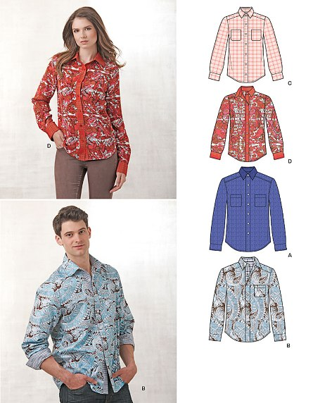 New Look 6232 Misses' and Men's Button Down Shirt