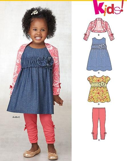 New Look 6236 Toddlers' Dress, Top, Leggings and Bolero